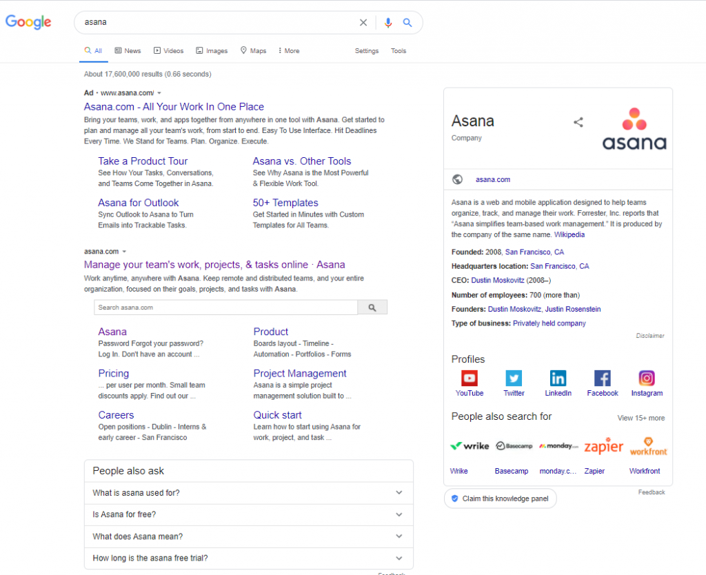 A screenshot of Google desktop where asana bids on [asana] keyword.