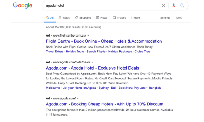 An example of partner / affiliate sites bidding on branded keywords and gain commission from it